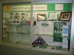 Display case in the new high school building - Time Capsule Contents and items from the 50th Anniv. Event.