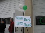 The pre-game reception was held in the 'Cheer Garage' at CD Middle School - the former bus garage/weight room.