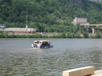 Our duck boats entered the river to continue our tour of the 3 rivers at Pittsburgh's Point Park.