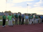 The '58 team members were called onto the field before the start of the Hall of Fame game.