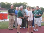 CDHS Principal Carol John and CDHS Athletic Director John Shaffer presented plaques to each player.