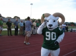 The Ram Mascot looks on with approval!