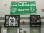 These hang in the auditorium/gymnasium lobby of the high school.