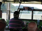 Jack Agnew '65 takes the helm of the duck boat on the river.